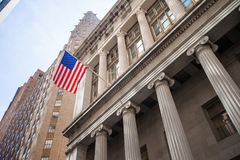 New York Stock Exchange in Manhattan Finance district. View of the building in the sky Royalty Free Stock Images