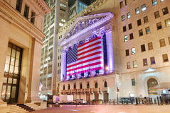 New York Stock Exchange at night Royalty Free Stock Photography