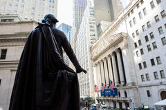 New York Stock Exchange. New York, NY: August 27, 2016: George Washington and the New York Stock Exchange on Wall Street. The New York Stock Exchange NYSE is the Royalty Free Stock Images