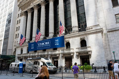 New York Stock Exchange. New York, NY: August 29, 2016: Thor Industries banner at the New York Stock Exchange. Thor Industries is a manufacturer of recreational Royalty Free Stock Photography