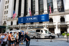 New York Stock Exchange. New York, NY: August 29, 2016: Thor Industries banner at the New York Stock Exchange. Thor Industries is a manufacturer of recreational Royalty Free Stock Photo