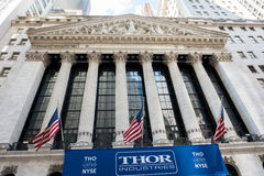 New York Stock Exchange. New York, NY: August 29, 2016: Thor Industries banner at the New York Stock Exchange. Thor Industries is a manufacturer of recreational Stock Photos