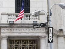 New York Stock Exchange with one-way sign stock photos