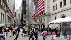 New York Stock Exchange a placé sur Wall Street au secteur financier à Manhattan inférieure Photographie stock