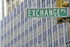New York Stock Exchange-Straßenschild, Wall Street, New York City, NY Lizenzfreie Stockfotografie