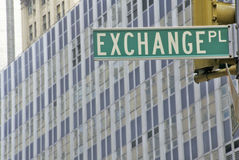 New York Stock Exchange street sign, Wall Street, New York City, NY Royalty Free Stock Photography