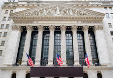The New York Stock Exchange at Wall Street in New York. The New York Stock Exchange building at Wall Street in New York City Royalty Free Stock Image