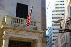 New York Stock Exchange and Wall Street sign Stock Photography