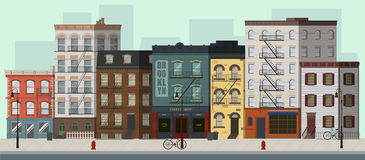 New York street. Street landscape with apartment buildings, shops and bars. Flat vector illustration Stock Image