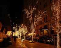 New York street scenery at Christmas time Stock Photos