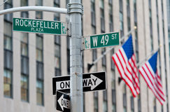 New York street sign. And flags royalty free stock image