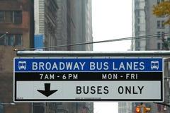 New York Street sign. Bus Street sign in New York city Stock Photos