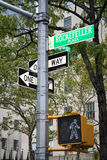 New York street sign. Pedestrian light and Street sign in New York city Stock Images