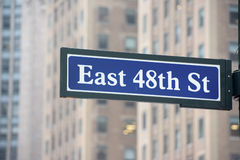 New York Street Sign: East 48th STreet Royalty Free Stock Photos