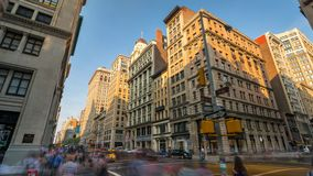 New York streets Crossroad Pedestrian Day timelapse. 4k stock video footage