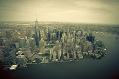 New York. Stunning helicopter view of lower Manhattan Stock Photos