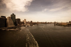 New York. Stunning helicopter view of lower Manhattan Stock Images