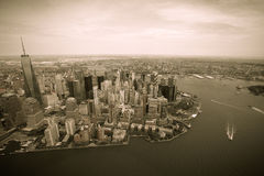 New York. Stunning helicopter view of lower Manhattan.Tinted Stock Photography
