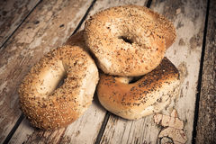 New York Style Bagels Stock Photo