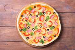 New York style pizza with pepperoni Royalty Free Stock Images