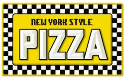 New York Style Pizza Sign Tin Embossed. NYC Cab Taxi checkerboard black yellow white vintage classic vector illustration
