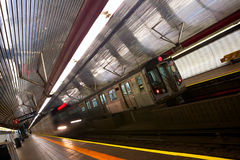 New York subway. Train arriving to station, New York City subway Stock Photos