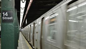 New York Subway Fast Speed Blurred Motion Train Background stock images