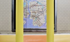 New York Subway Seats and Map NYC Train Car Interior stock images