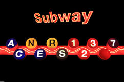New York Subway sign isolated on black background Stock Photo