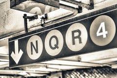 New York subway signs. N Q R 4 Royalty Free Stock Image