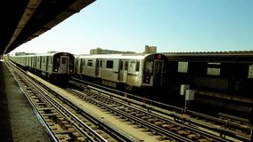 New York subway station. The train arrival and departure stock video