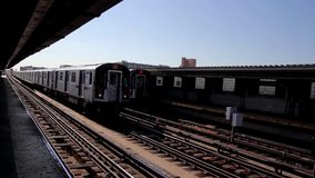 New York subway station with trains. New York subway station - the train arrival and departure stock video