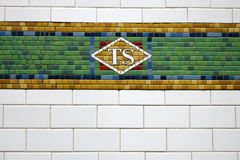New York Subway Tile. Times Square station Subway Tile mosaic, New York stock photo