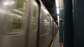 New York subway train arriving at the station Wall Street stock video footage