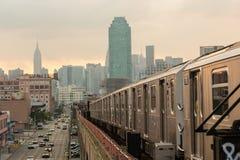 New York Subway. Subway Train in New York before Sunset Royalty Free Stock Photography