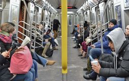 New York Subway Train to Work People Riding Metro MTA Commuting in the City royalty free stock image