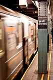 New York subway, Wall street station Stock Photo