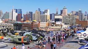 New york summer sunny day intrepid museum manhattan panorama 4k usa