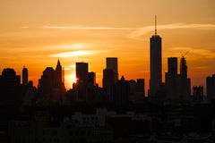 New York sunset. Manhattan sunset view from Brooklyn Royalty Free Stock Photography