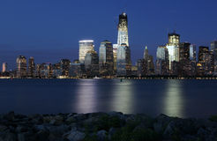 New York sunset skyline. New York scene taken from a park in New Jersey Royalty Free Stock Image
