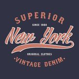 New York superior denim, vintage graphic for t-shirt. Original clothes design. Authentic apparel typography. Retro clothing print. Royalty Free Stock Photo