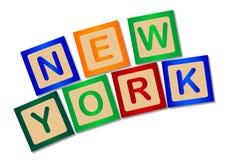 New York sur les caractères gras en bois d'isolement Photos libres de droits