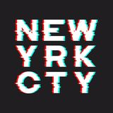 New York t-shirt and apparel design with noise, glitch, distortion effect. Vector print, typography, poster, emblem. royalty free illustration