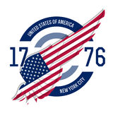 New york t-shirt design. Tee templates with wing and USA flag co Stock Photo