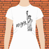 New York T-Shirt with Statue of Liberty Design Royalty Free Stock Image