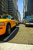 New York taxi. Cab in the streets of Manhattan Stock Photos