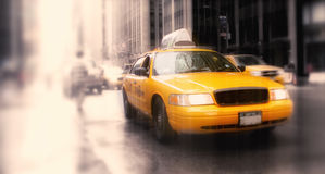 New York Taxi - lens blurred Stock Images