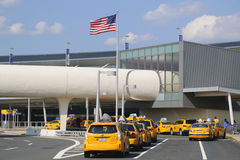 New York Taxi line next to JetBlue Terminal 5 at John F Kennedy International Airport in New York Stock Image