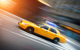 New York taxi in motion Royalty Free Stock Photo