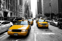 New York Taxi. Yellow taxi in a Black and White New York Stock Photos
